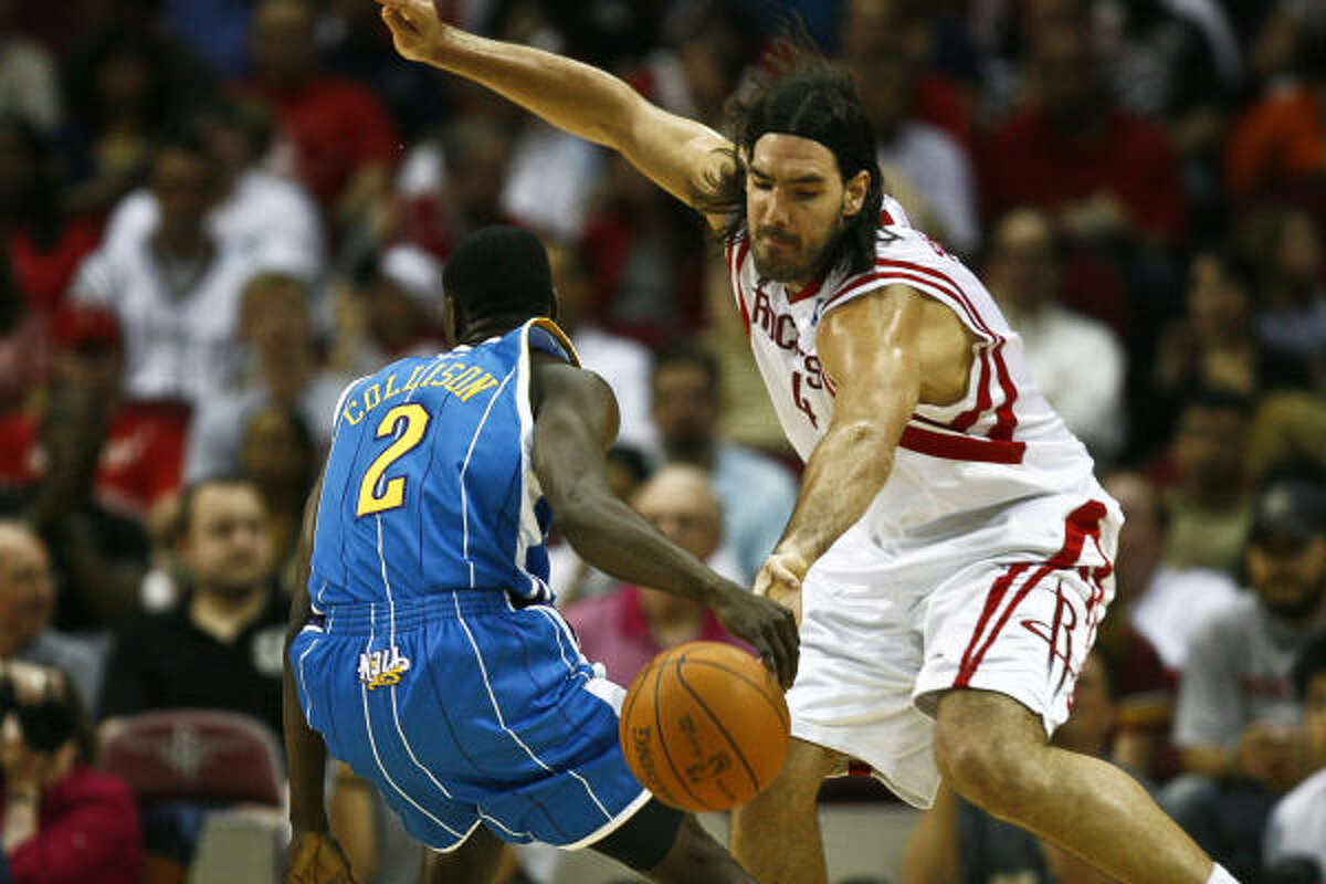 Luis Scola and the Rockets will play New Orleans and guard Darren Collison in the second home game of the season, Nov. 3.