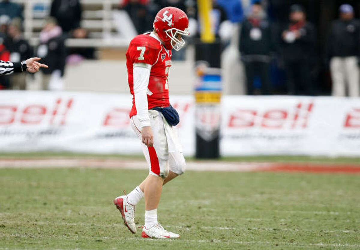 UH quarterback Case Keenum had a career-high six interceptions and took the blame for the loss.
