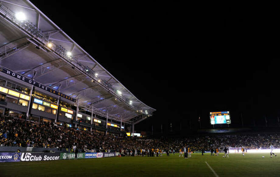 The Dynamo and Galaxy were left in the dark twice during November's playoff match. Photo: Kevork Djansezian, Getty Images