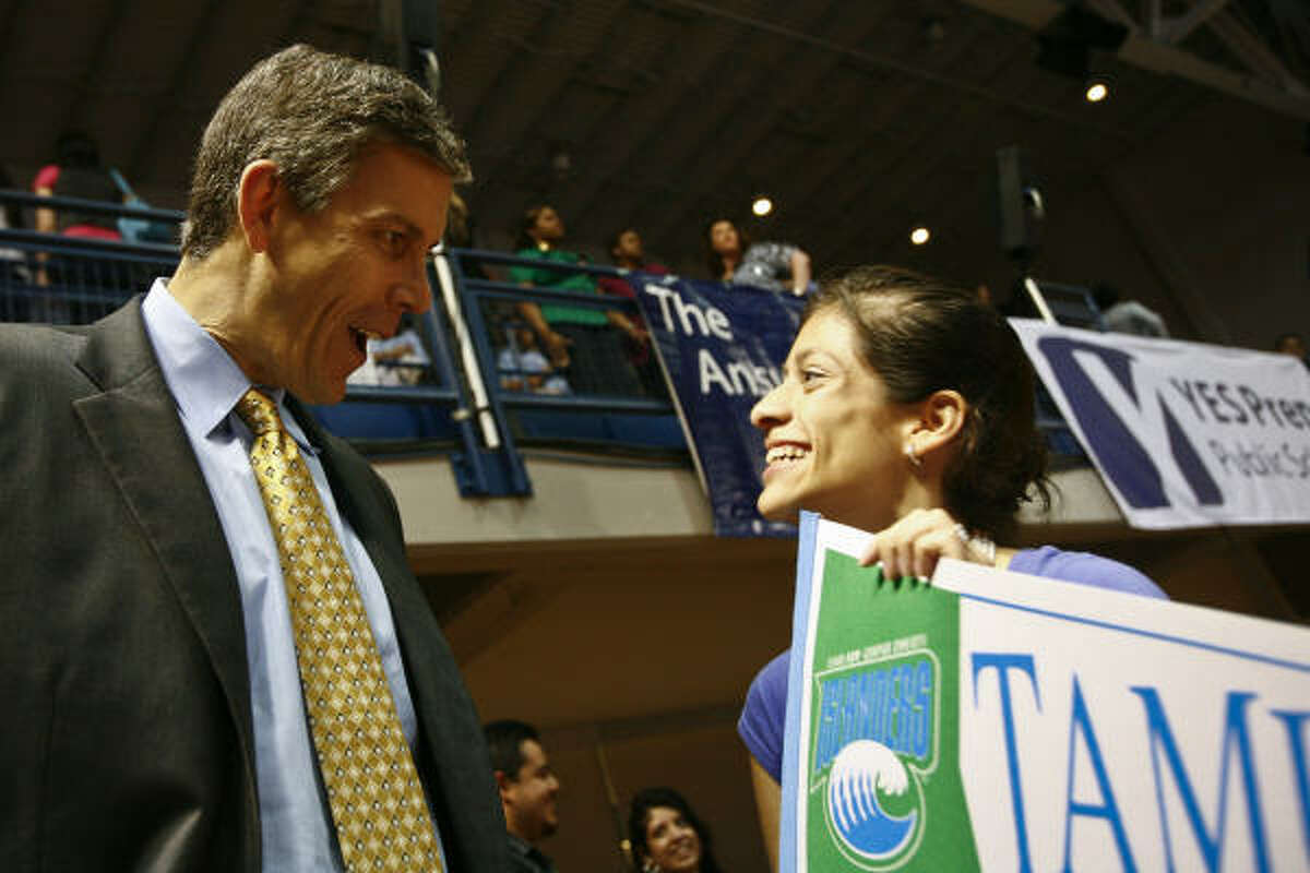 U.S. Education Secretary Arne Duncan on Friday visited with students from YES Prep, including Maria Arteaga-Sachnik.