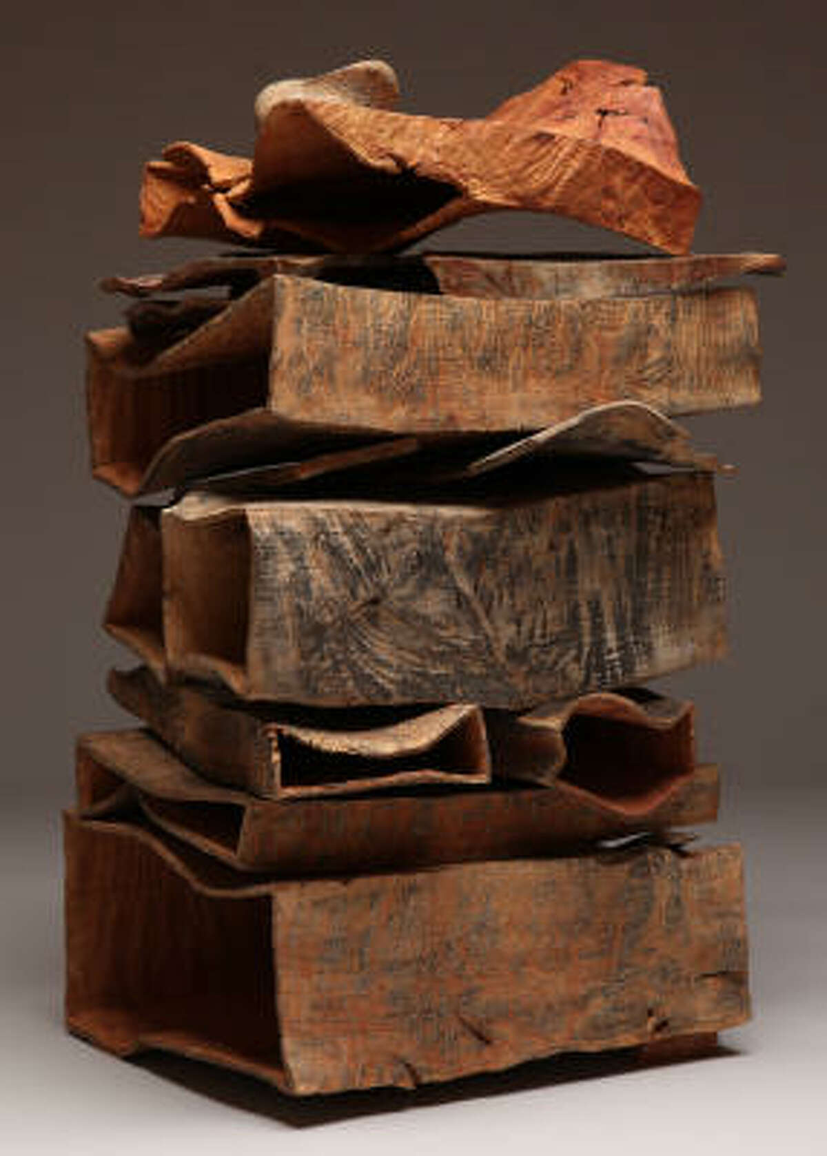 Coastal Stack IV, 2008, madrone burl and locust burl, carved, sandblasted, bleached, pigmented.