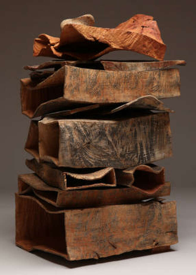 Coastal Stack IV, 2008, madrone burl and locust burl, carved, sandblasted, bleached, pigmented. Photo: REX RYSTEDT :,  DEL MANO GALLERY