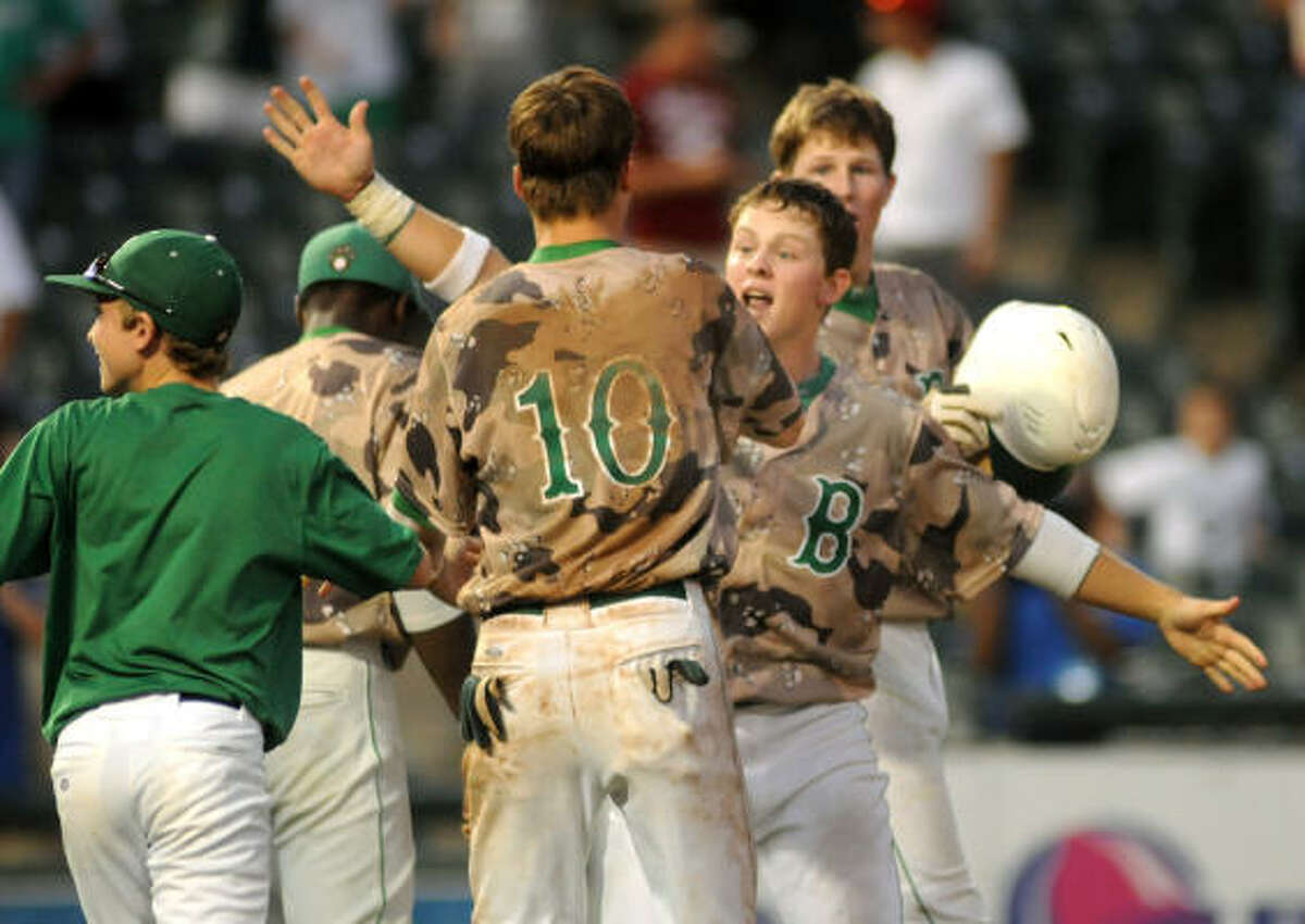 Brenham celebrates after the extra-innings win which sends the Cubs to the 4A state final.