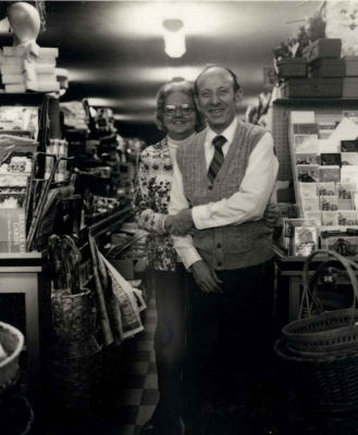 Both now deceased, the Klingers were among the Rice Village's best-known mom-and-pop retailers. They are pictured here among their myriad merchandise, date unknown.