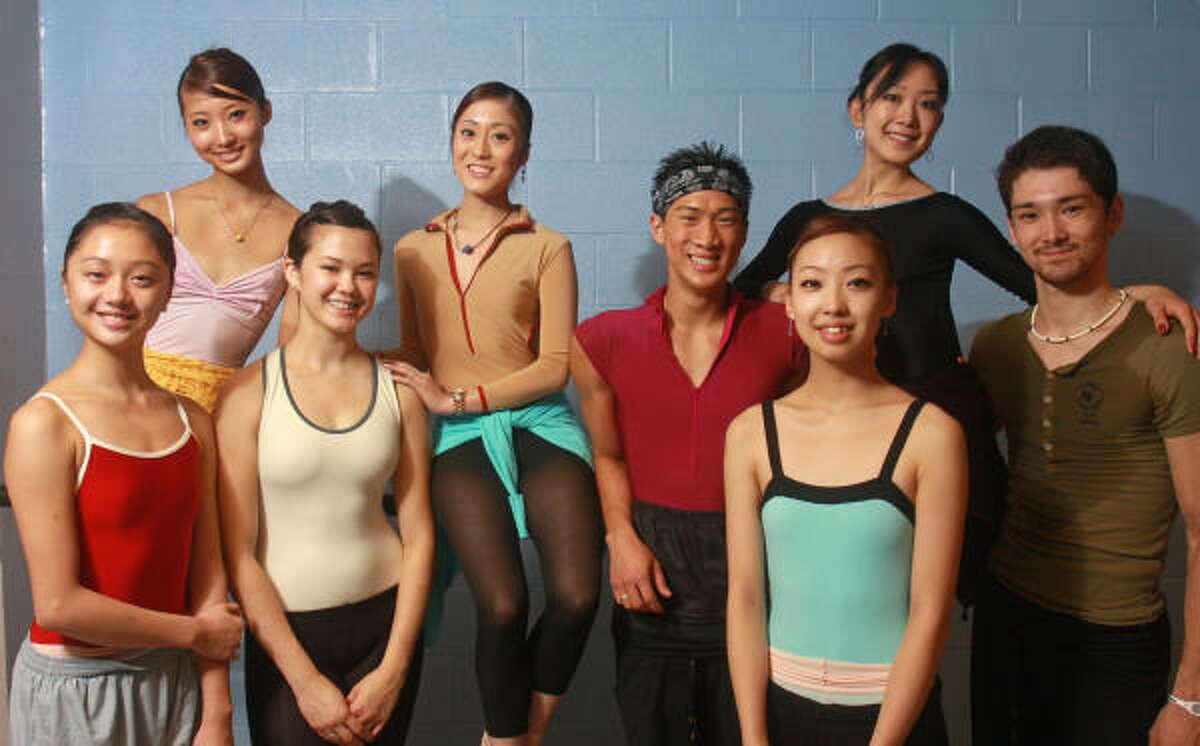 Houston Ballet's deep well of Asian talent includes, from left, Liao Xiang of China, Nozomi Iijima of Japan, Ceriah Tedjamulia of Utah, Hitomi Takeda of Japan, Jim Nowakowski of South Korea, Megumi Takeda of Japan, Nao Kusuzaki of Japan and Charles-Louis Yoshiyama of Japan.
