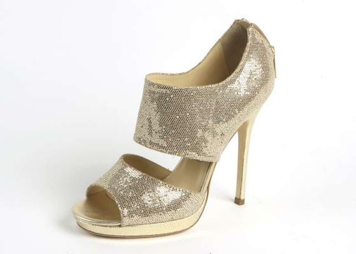Jimmy Choo glitter fabric open toe, $995, Saks Fifth Avenue.