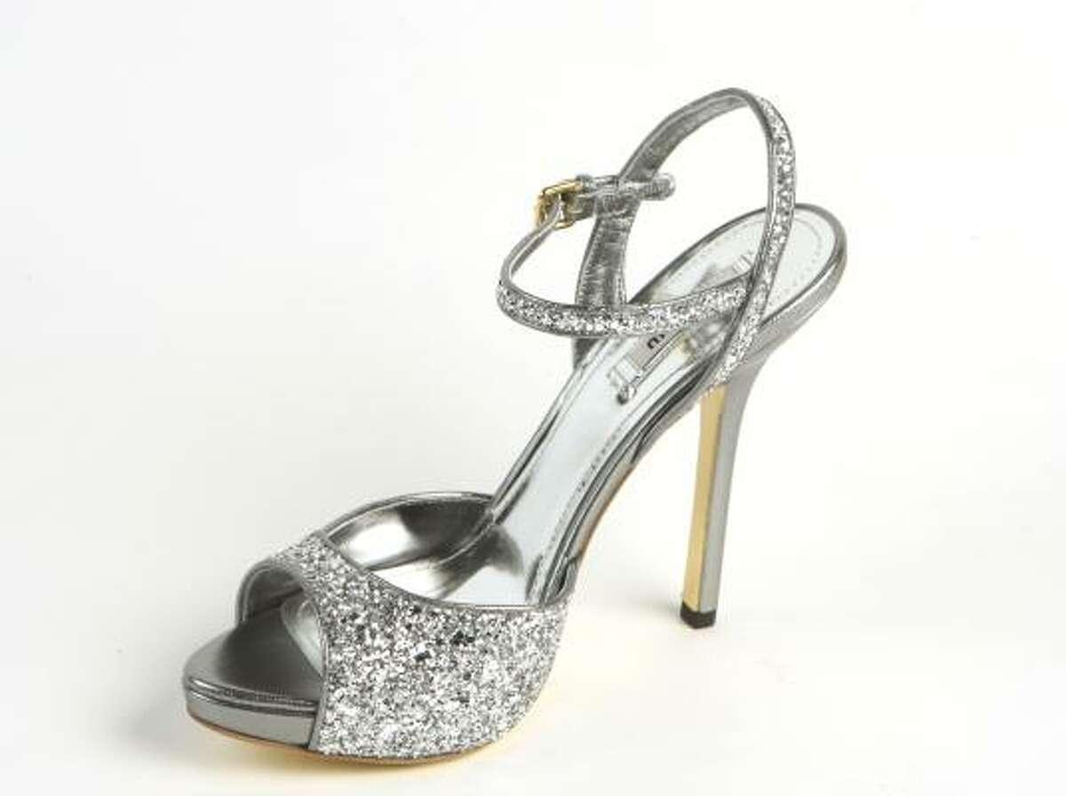 Miu Miu glittered open-toe sandal, $645, Saks Fifth Avenue.