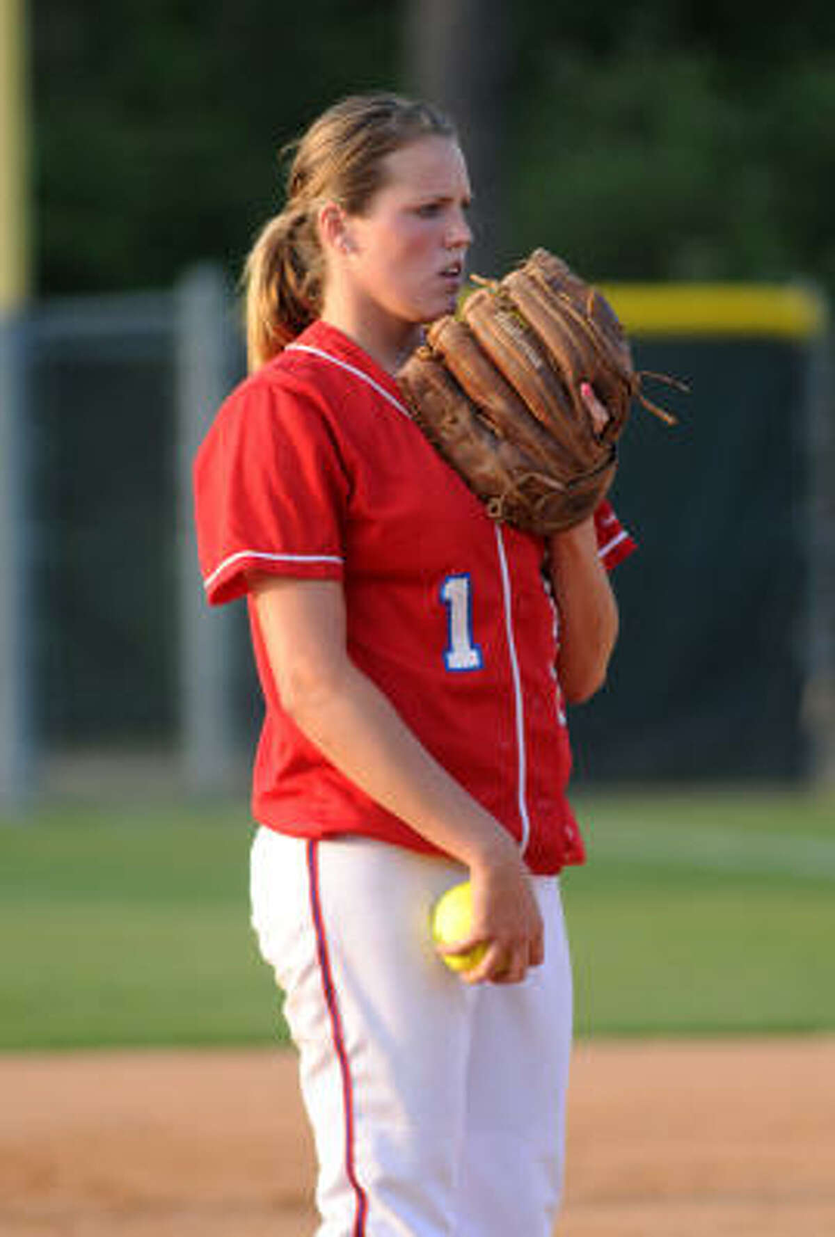 Shelby Lancaster, 15-5 this season with 141 strikeouts, has been starting for Tomball since her freshman year.