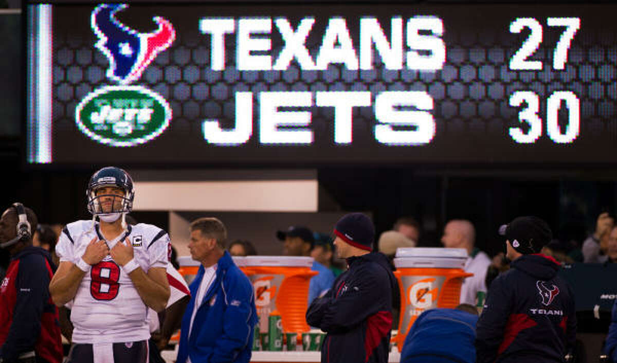 Texans quarterback Matt Schaub reacts on the sideline after the Jets scored the game-winning touchdown in the final seconds on Sunday.