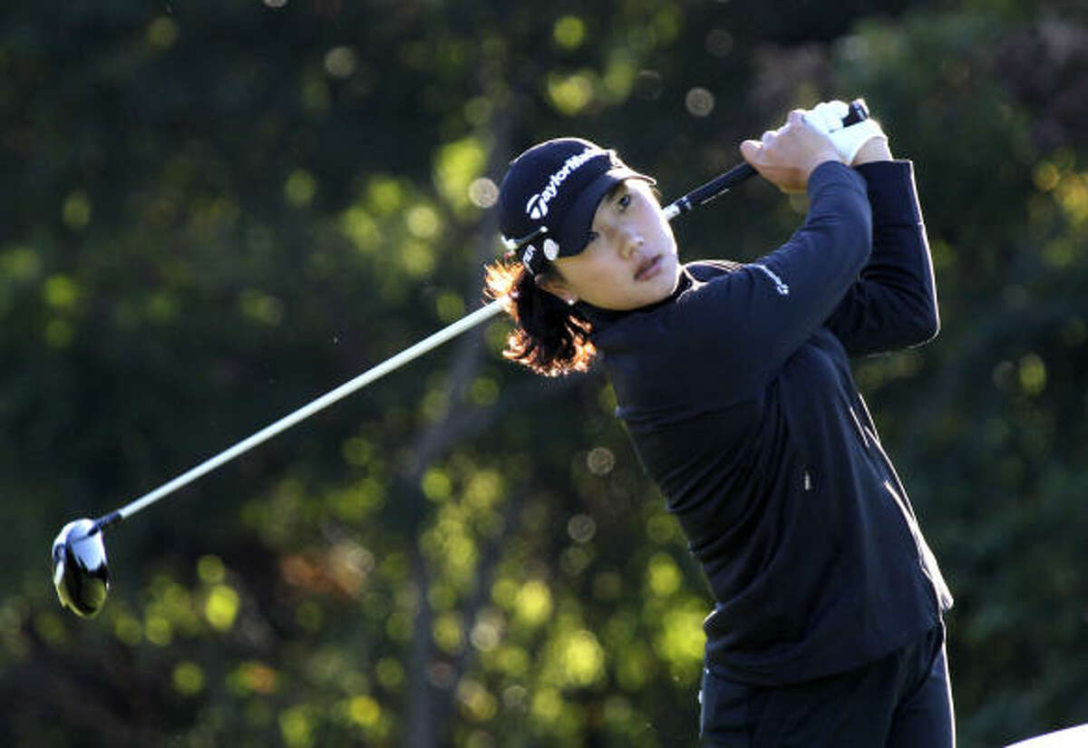 Seon Hwa Lee (pictured), is tied for the lead with fellow South Korean Amy Yang after Thursday's first round.