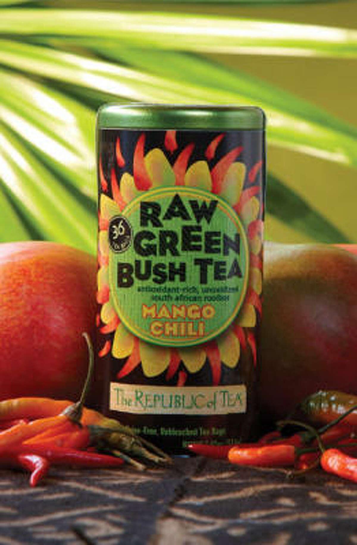 Republic of Tea's new Raw Green Bush Tea Collection includes Mango Chili tea.