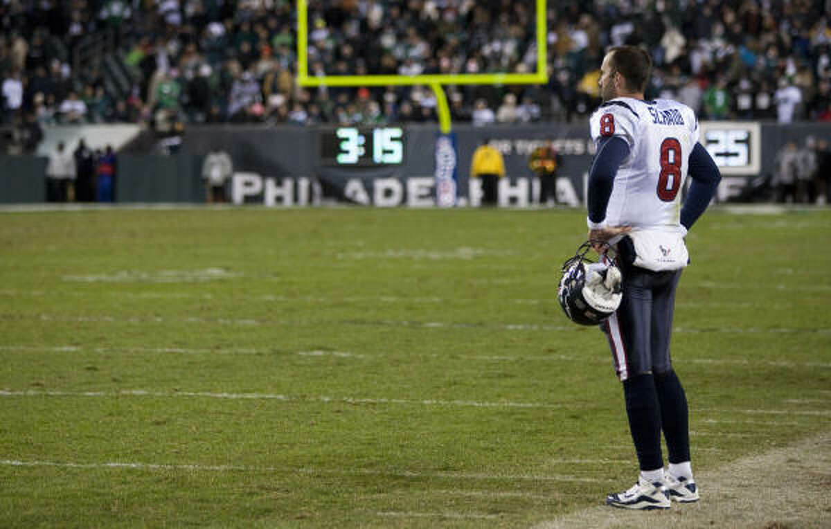 Texans quarterback Matt Schaub stands alone on the sidelines after fumbling in the fourth quarter.