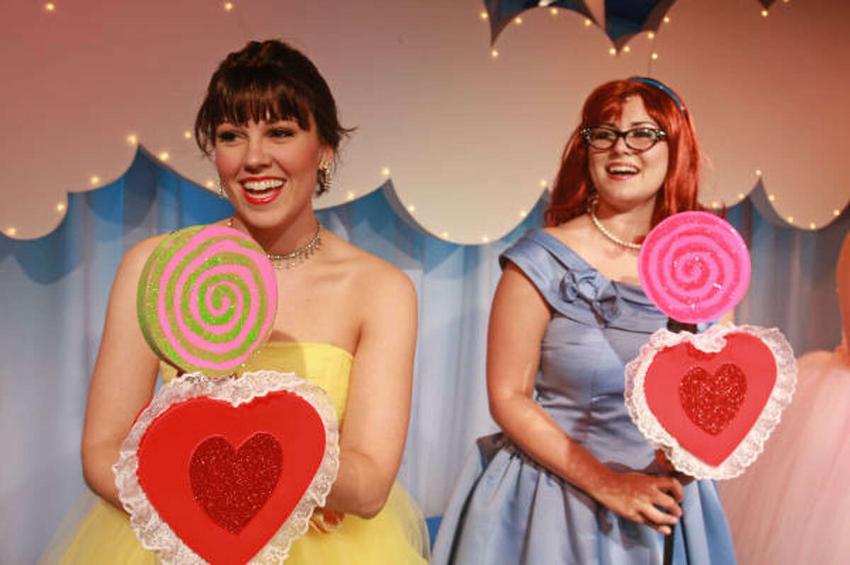 Rachael Drees Logue, left, radiates as Cindy Lou, and Chelsea Ryan McCurdy delights as Missy in The Marvelous Wonderettes, a jukebox musical built around