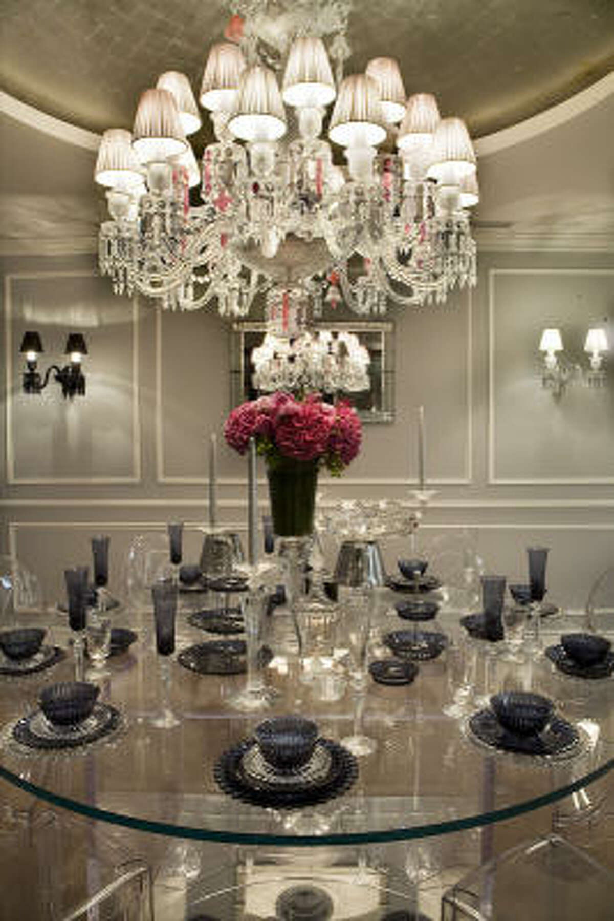 The Houston Design Center's holiday tabletop tour and open house features designs by luxury brands such as Baccarat, above.