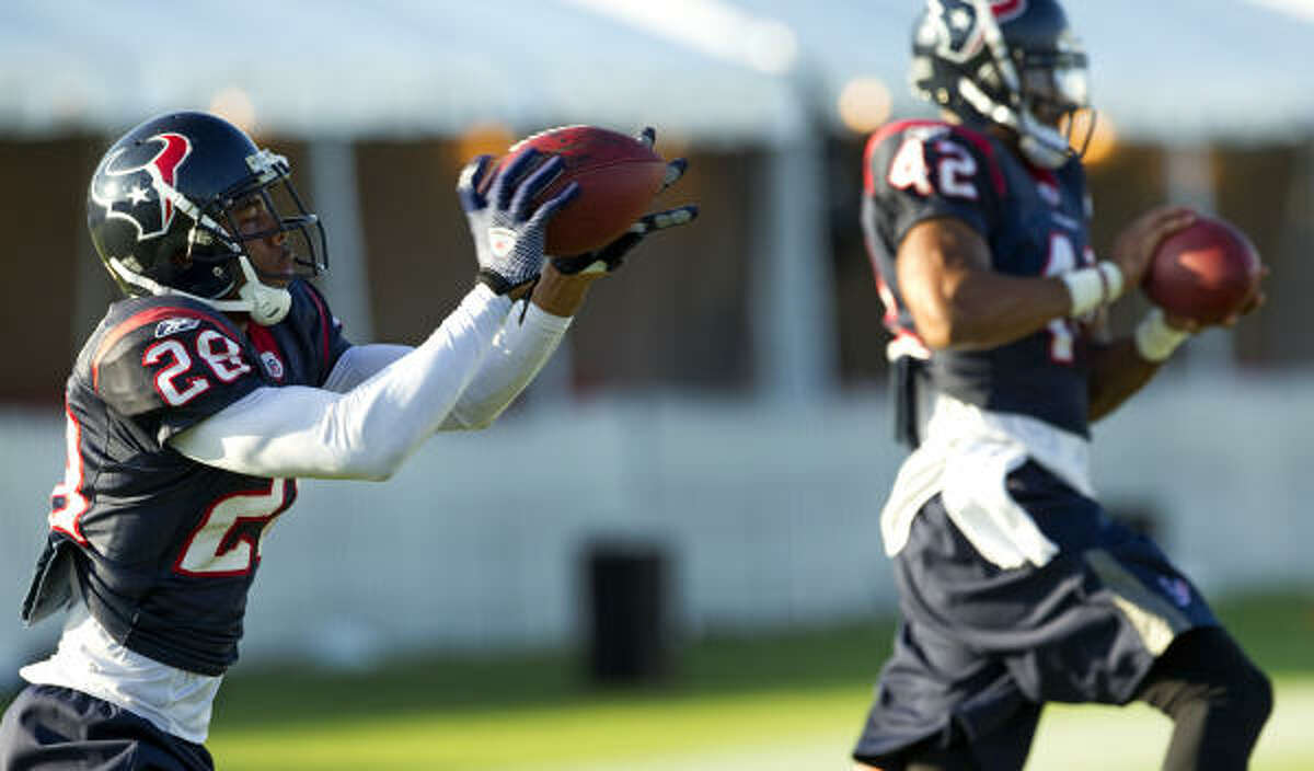The Texans will look to Antwaun Molden, left, to contribute this season, whether it's in the secondary or on special teams.