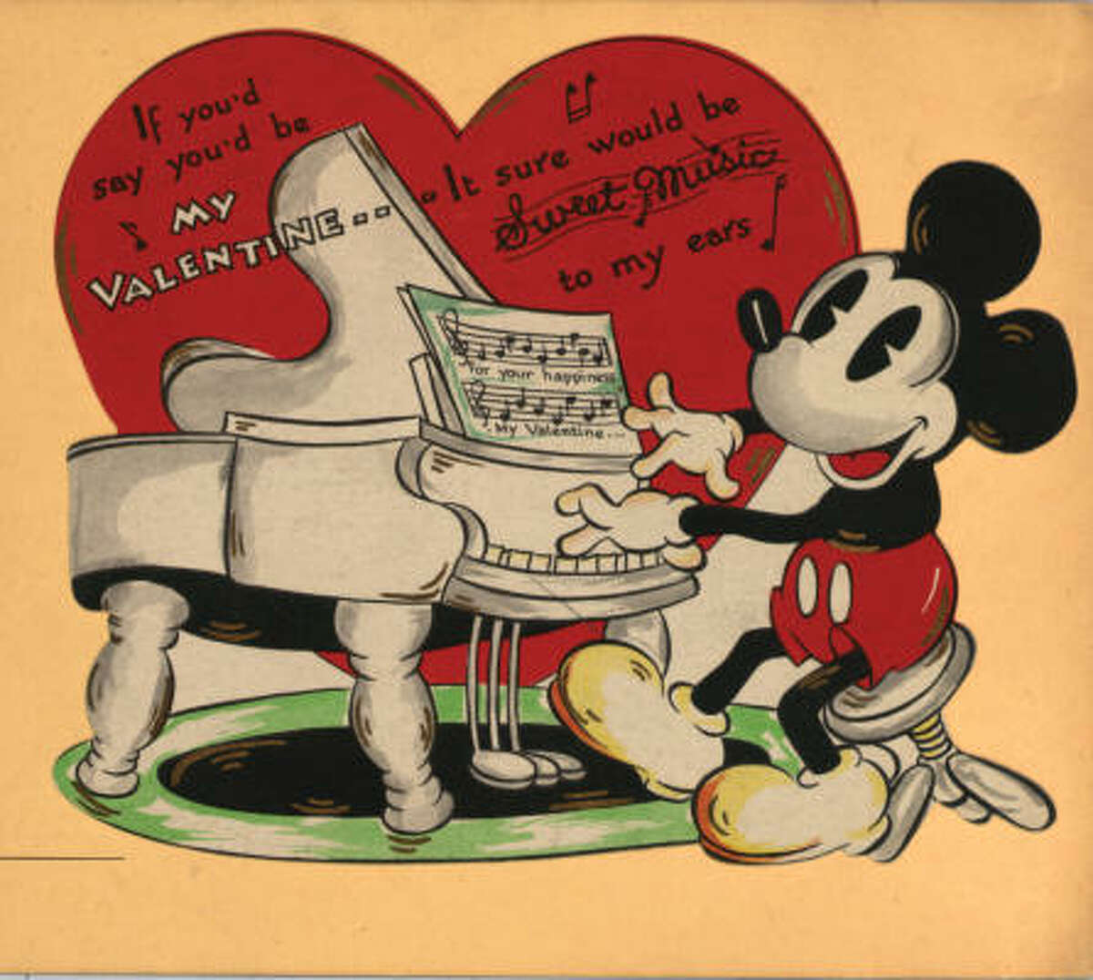 Kansas City-based Hallmark Cards signed its first licensing agreement with the Walt Disney Company in 1932. This is one of the first cards featuring Mickey Mouse.