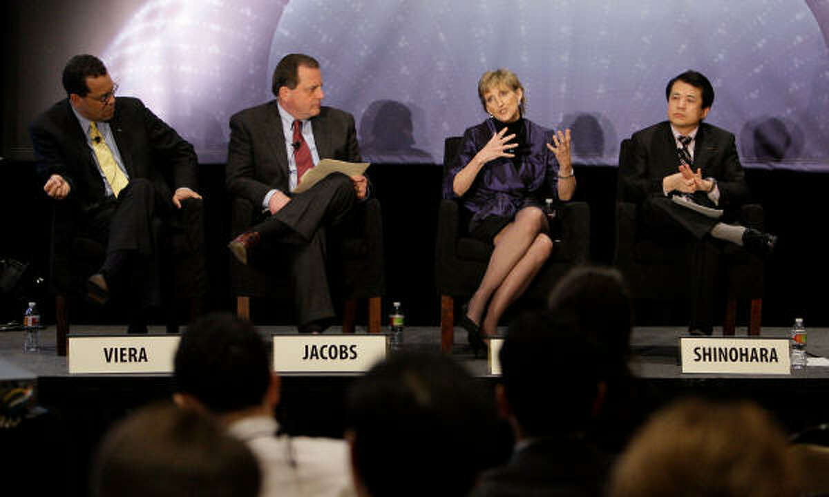 CERAWeek panelists tackling big-picture transportation and energy questions on Wednesday were John Viera of Ford Motor Co., Jeffrey Jacobs of Chevron's technology ventures, Britta Gross of General Motors Co. and Minoru Shinohara of Nissan Motor Co.