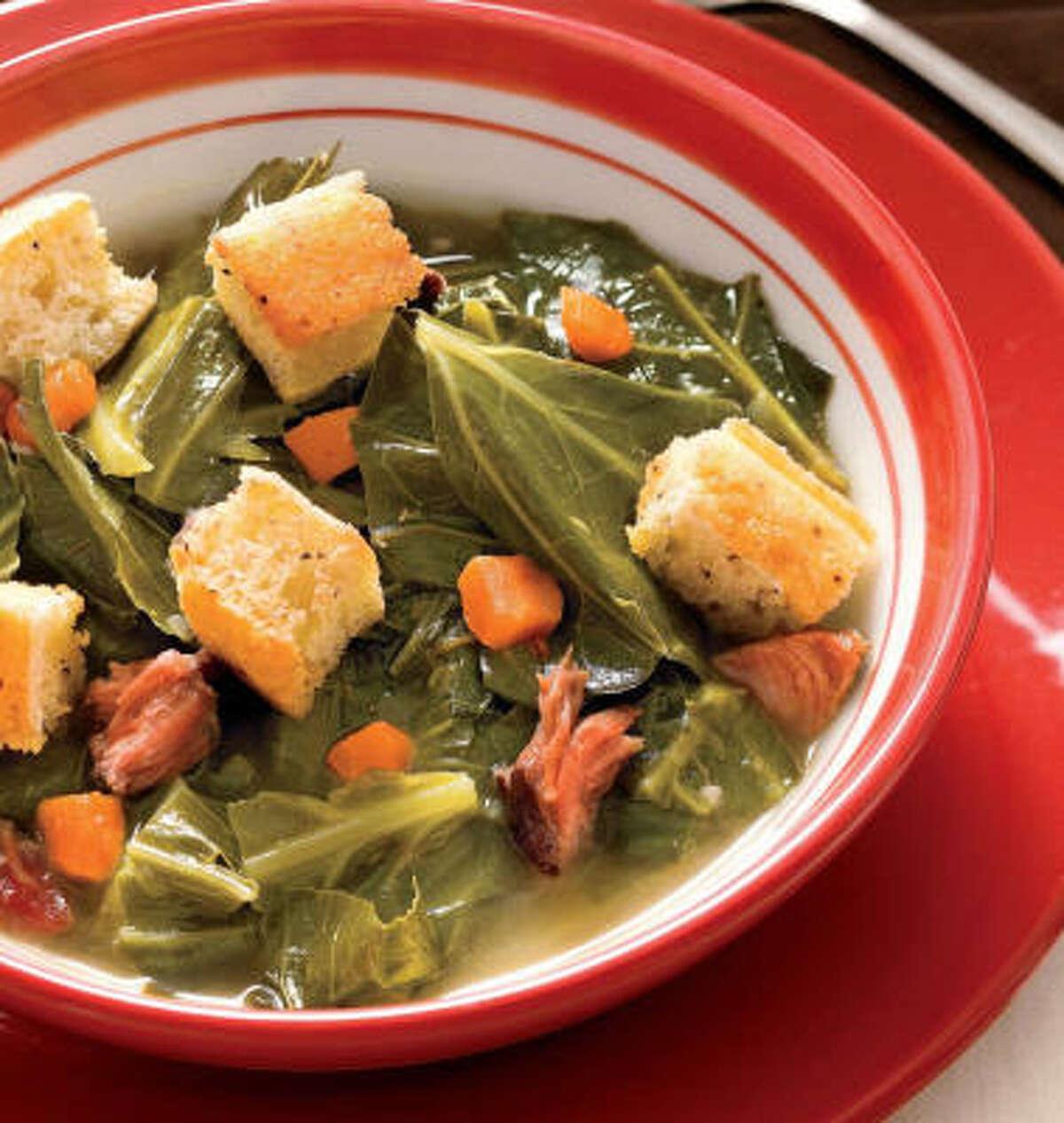 Pot Likker Soup with Cornbread Croutons