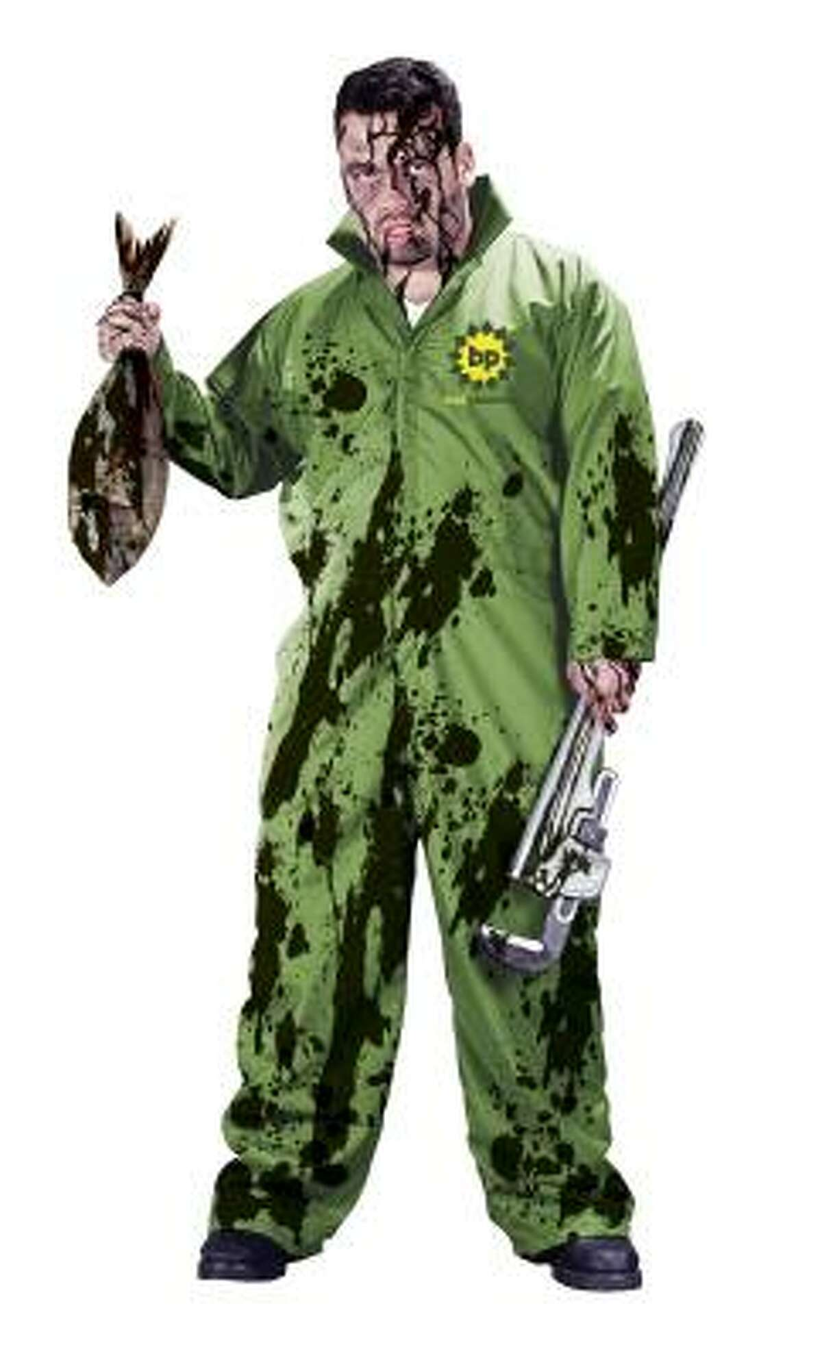 The BP Oil Spill Halloween costume, by Fun World in New York, features a green jumpsuit covered in oil spots.