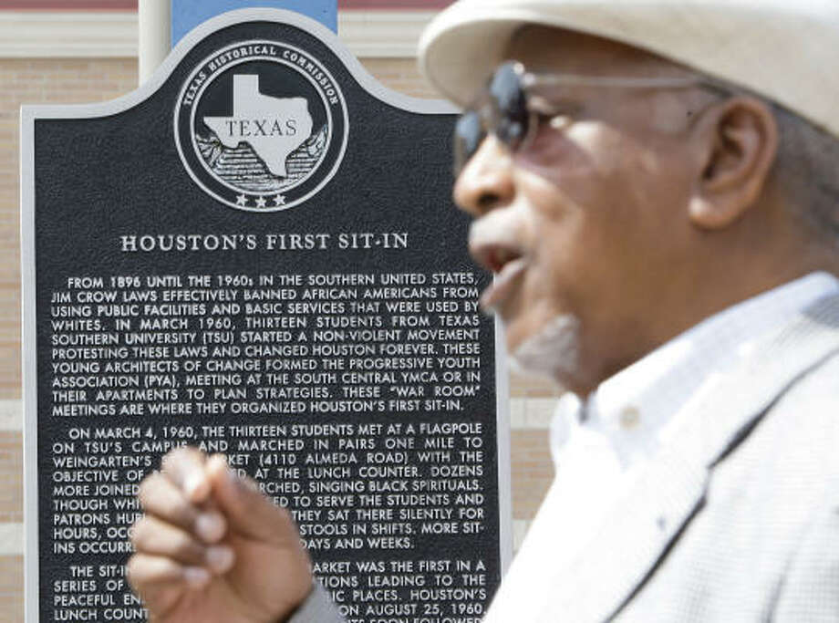 There's plenty to remember, and there's still plenty of reason to remember, as James Barron did Thursday at the site of Houston's first sit-in for equality at a lunch counter in 1960. Photo: Melissa Phillip, Chronicle