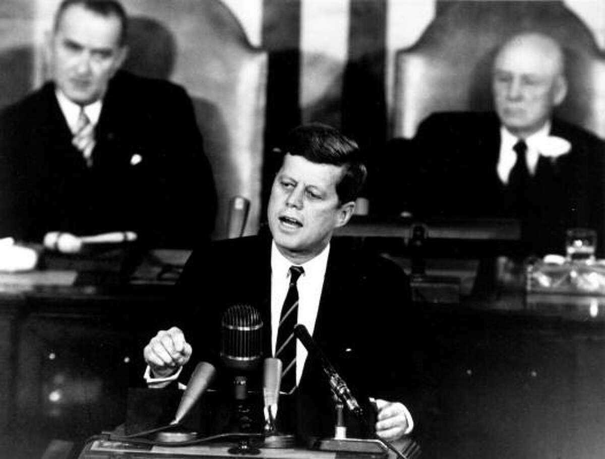 """""""I believe that this nation should commit itself to achieving the goal ... of landing a man on the moon and returning him safely to the Earth,"""" John F. Kennedy said in a 1961 speech to Congress."""
