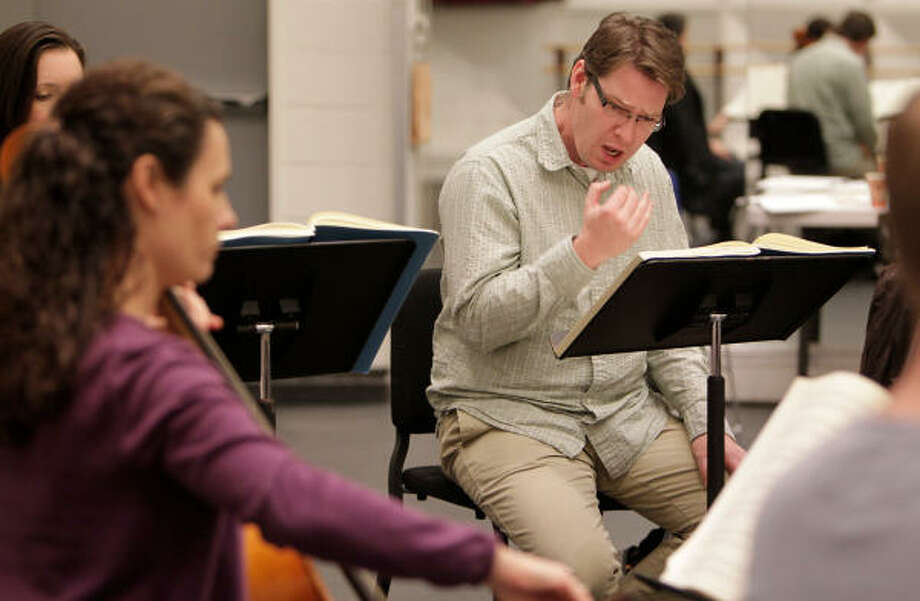 Baritone Sumner Thompson, who will play Montezuma, rehearses with fellow Mercury Baroque members. Photo: Mayra Beltran, Houston Chronicle