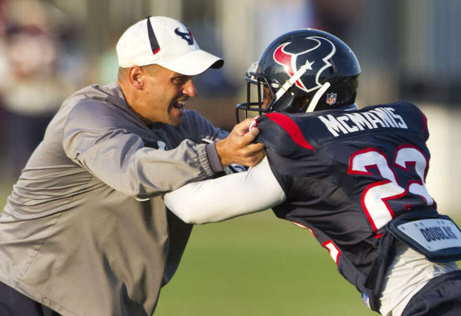 Texans cornerback Sherrick McManis missed OTAs but has made progress in training camp. Photo: Brett Coomer, Chronicle