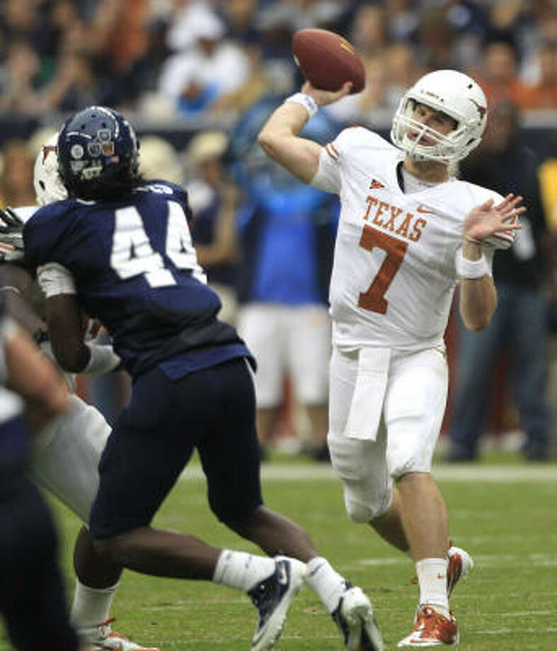 Quarterback Garrett Gilbert will lead the Longhorns into his first Red River rivalry matchup after last week's loss to UCLA. Photo: Brett Coomer, Chronicle