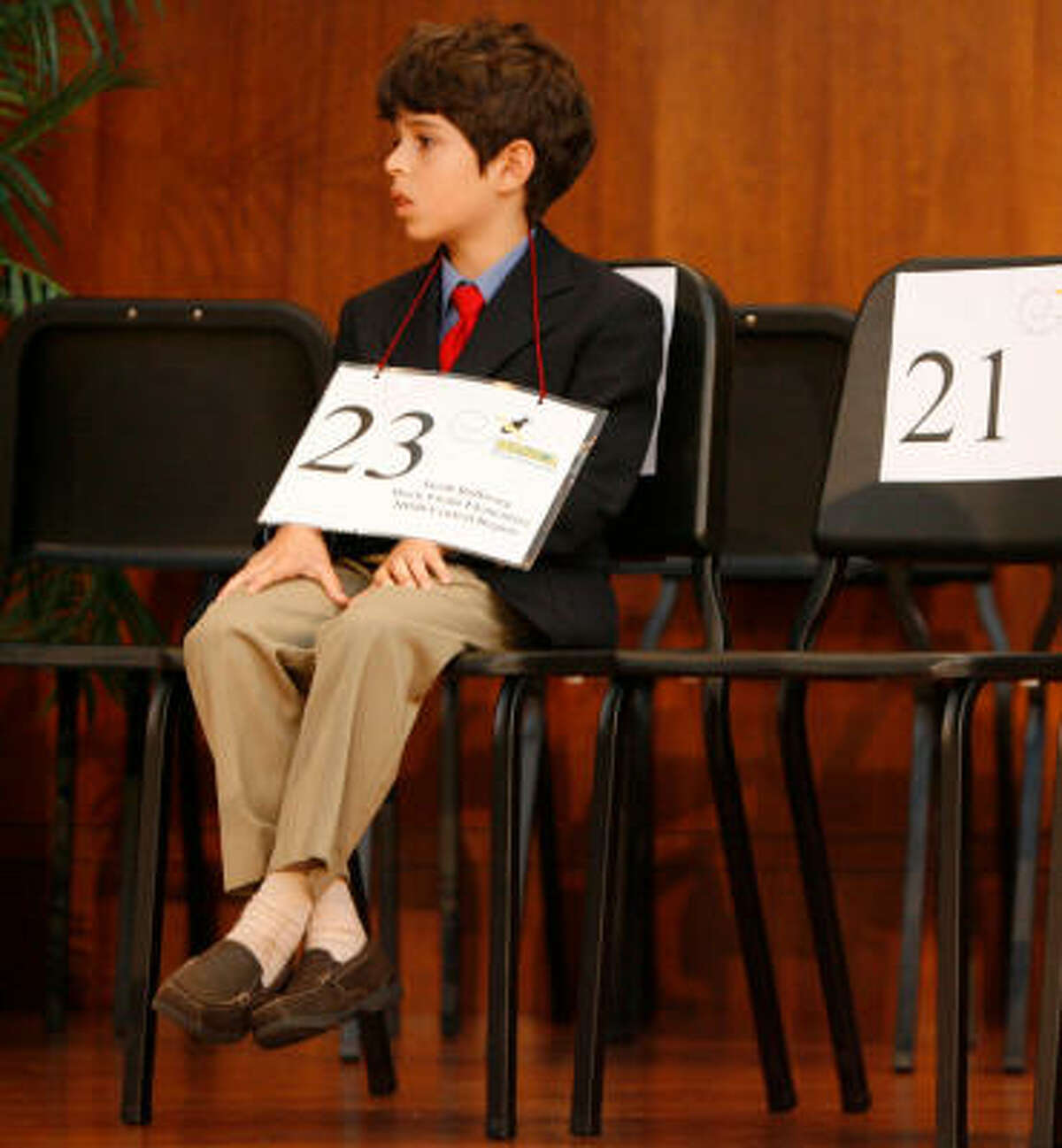 Jacob, shown trying to keep his knees from shaking during the bee, admitted he was nervous about the spelling contest.