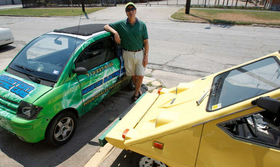 Rick Ehrlich, owner of Houston Electric Cars, 1005 St. Emmanuel, can't wait for the next generation of cars and trucks that don't depend on fossil fuels. Photo: Melissa Phillip, Chronicle