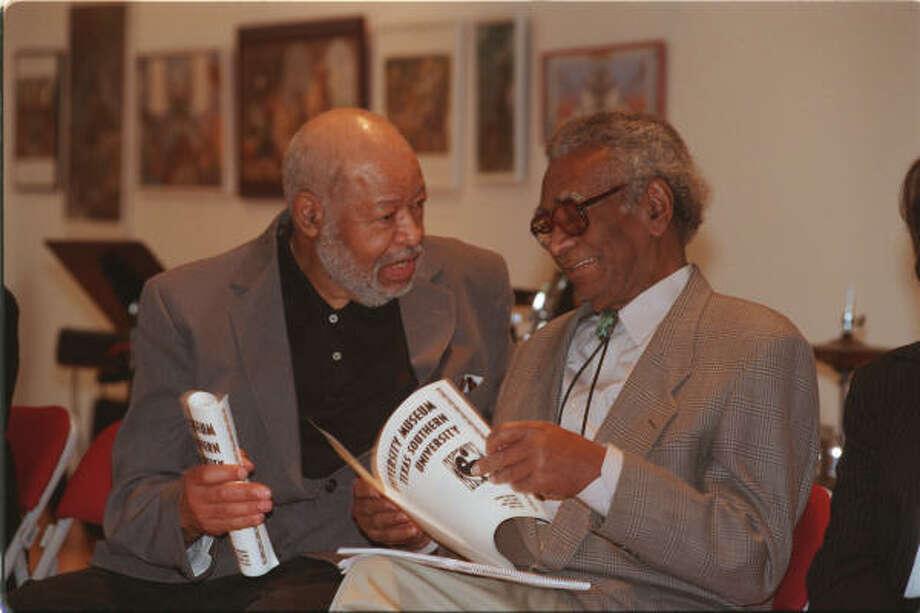 Carroll Harris Simms, left, and Dr. John T. Biggers were key to the development of the TSU art department Photo: Carlos Antonio Rios, Houston Chronicle