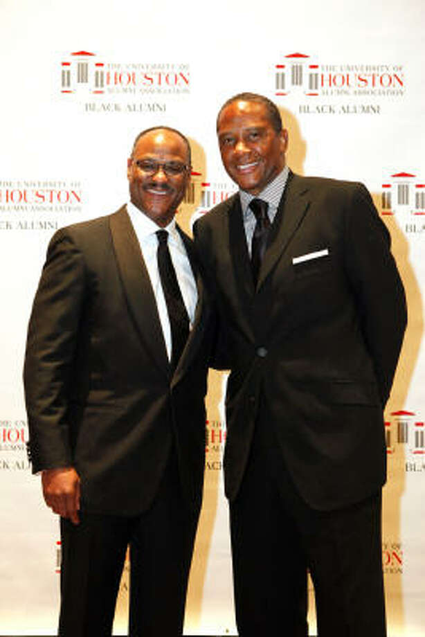 Honorary chairs Jarvis V. Hollingsworth, left, and James T. Campbell at the University of Houston Black Alumni Association's Scholarship and Awards Gala. Photo: TODD SPOTH, Houston Chronicle