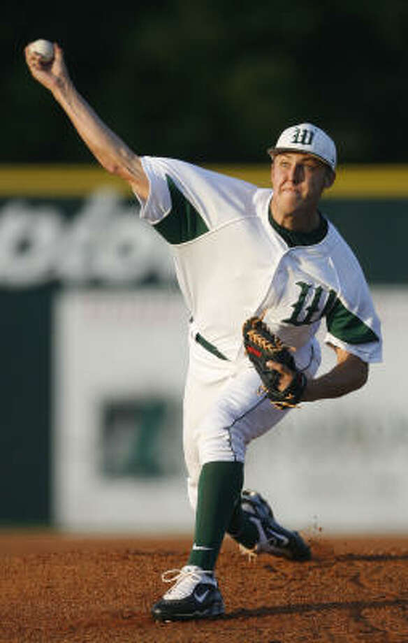 The Woodlands pitcher Jameson Taillon is the consensus No. 1 high school pitching prospect. Photo: Julio Cortez, Chronicle