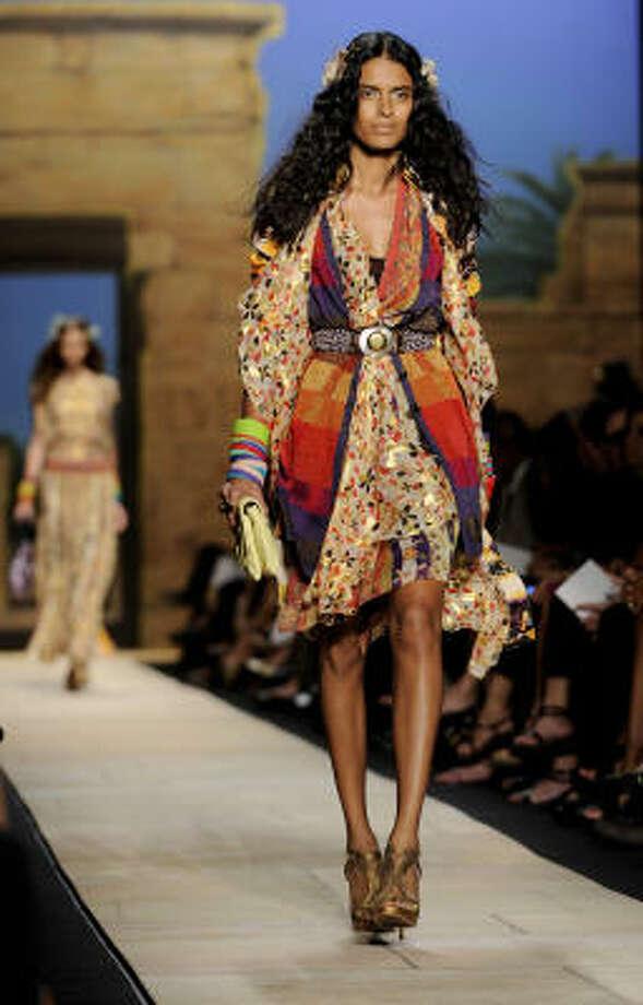 Designer Diane von Furstenberg mixed and matched ethnic influences in her spring collection. Photo: Stephen Chernin, Associated Press