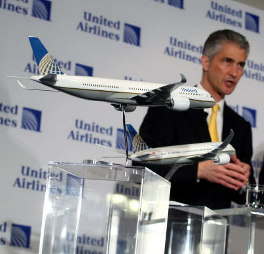 Displaying the merged airline's new, but famililar, look, Continental's Jeff Smisek speaks at a news conference last week in New York. Photo: Hiroko Masuike, Getty Images