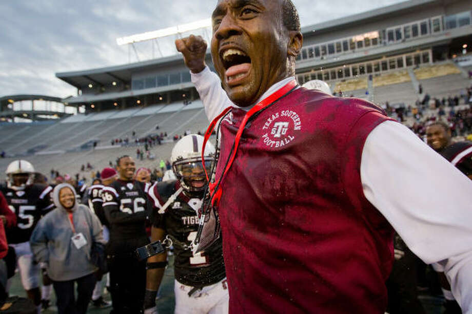 After playing on only losing teams at TSU during the 1980s, Johnnie Cole has all the more reason to bask in the moment after coaching the Tigers to the SWAC championship. Photo: Smiley N. Pool, Chronicle