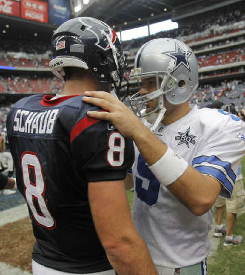 The only victory for the Cowboys and quarterback Tony Romo this season, right, came against the Texans and quarterback Matt Schaub, left, at Reliant Stadium. Photo: Rodger Mallison, MCT