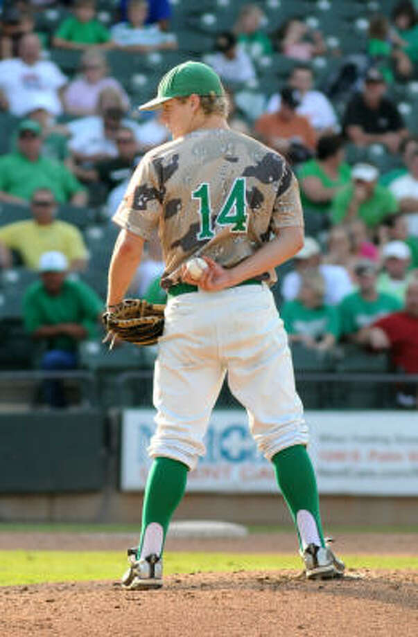 Brenham pitcher Chase Wellbrock was named MVP of the 4A state final after his complete game. Photo: Jerry Baker, For The Chronicle