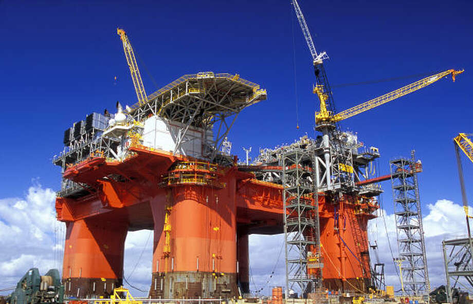 The Atlantis platform, shown under construction in 2005, is now in the Gulf, located 124 miles offshore in 7,000 feet of water. Photo: FOR THE CHRONICLE