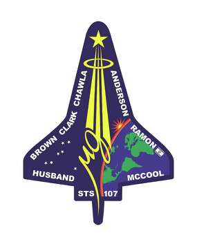 This is the insignia for STS-107, which was a multi-discipline microgravity and Earth science research mission with a multitude of international scientific investigations conducted continuously during the planned 16 days on orbit on the shuttle Columbia. Space shuttle Columbia broke apart in flames approximately 200,000 feet over Texas on Saturday, Feb. 1, 2003 killing all seven astronauts just minutes before they were to glide to a landing in Florida. Photo: AP / NASA