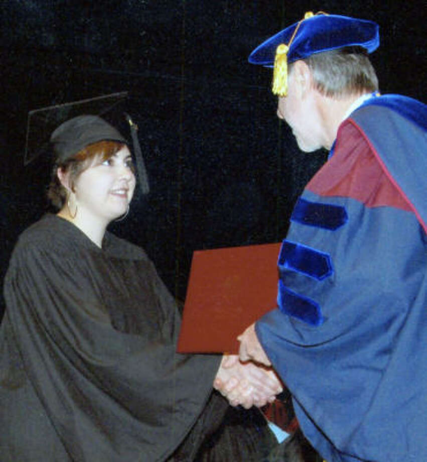 Kayla Mire, who graduated from Trinity University in May, fought the hallucinations of schizophrenia with medications. Photo: Handout Photo