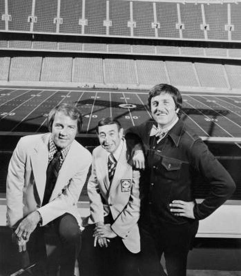 The heyday of Monday Night Football included a three-man crew in the booth of, from left, play-by-play man Frank Gifford and analysts Howard Cosell and Don Meredith. Photo: AP