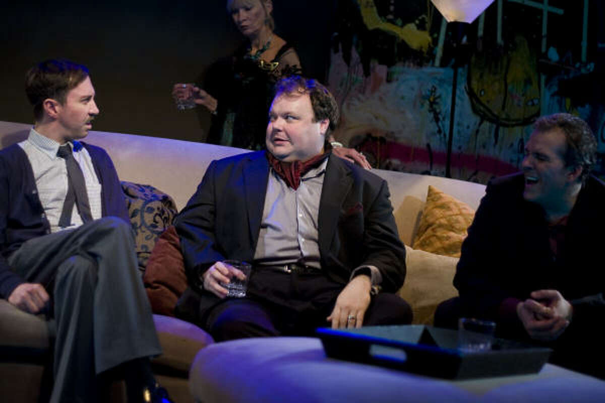 Jim (Troy Schulze, left) and Tony (Kyle Sturdivant) share all too much in Wallace Shawn's shocking comedy Our Late Night, a Catastrophic Theatre production at DiverseWorks.