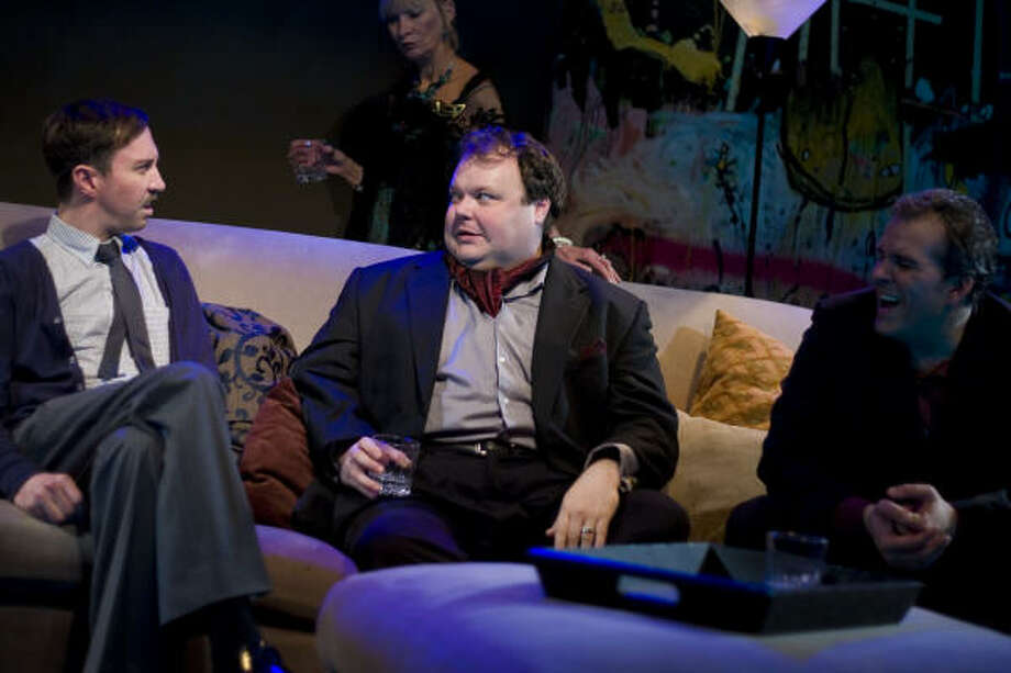 Jim (Troy Schulze, left) and Tony (Kyle Sturdivant) share all too much in Wallace Shawn's shocking comedy Our Late Night, a Catastrophic Theatre production at DiverseWorks. Photo: Anthony Rathbun