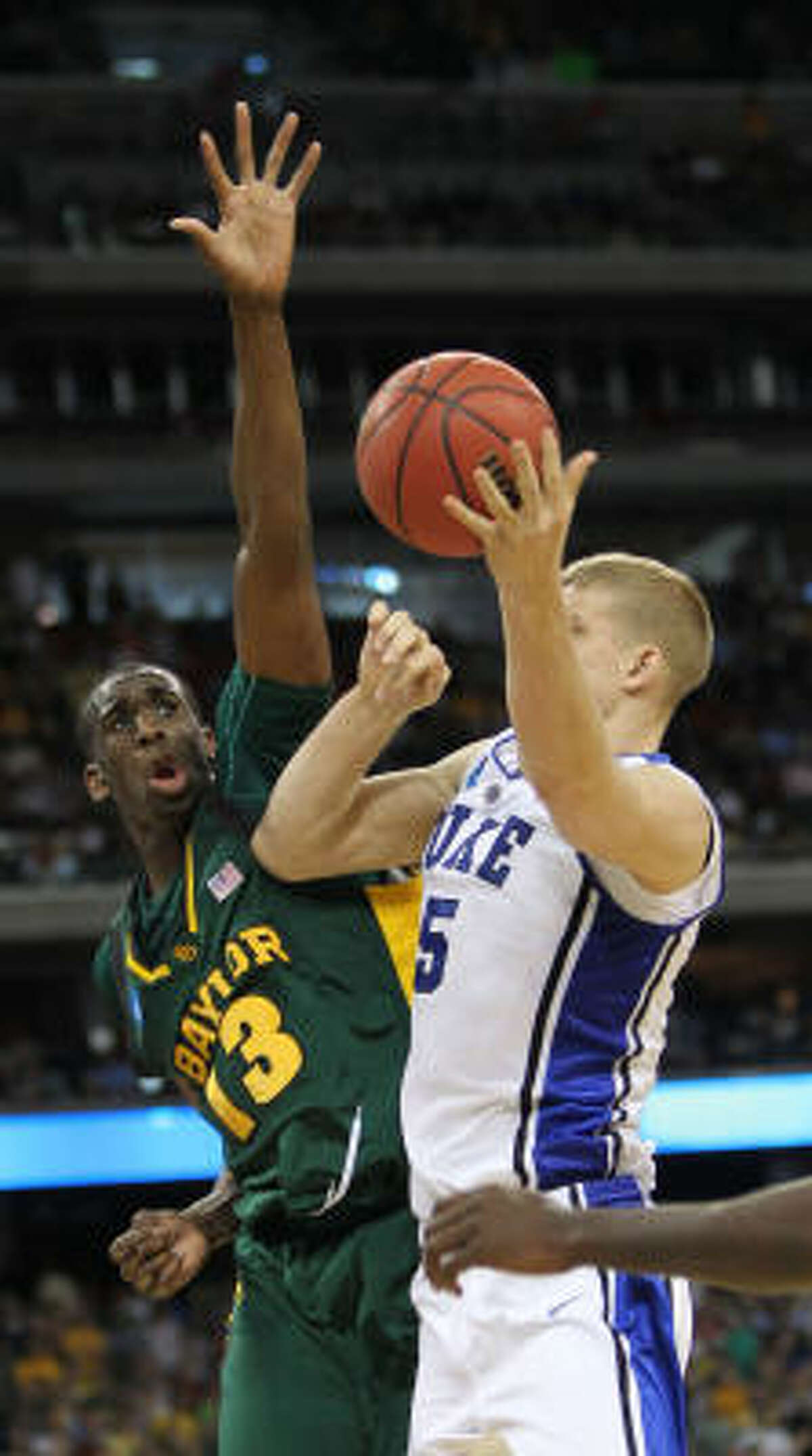 Baylor forward Ekpe Udoh (13) filled the stats sheet against Duke finishing with 18 points, 10 rebounds, six assists and five blocks.