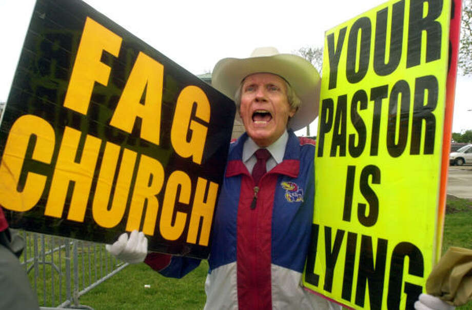 Fred Phelps, Nate Phelps' father, voices his opposition to including gays in church in 2000. He leads Westboro Church, which consists mostly of family members and rails against homosexuality and other perceived sins. Photo: KRT FILE