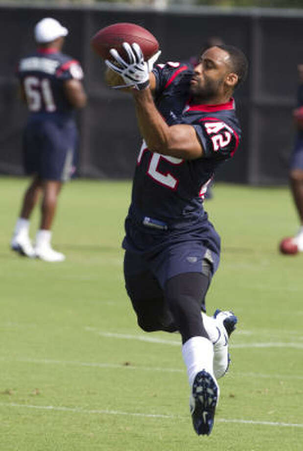 After an injury-plagued college career at Purdue, undrafted safety Torri Williams is just happy to be given a chance at Texans camp. Photo: Brett Coomer, Chronicle