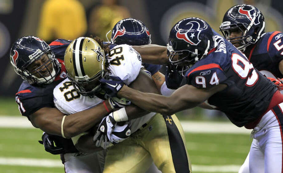 The Saints gouged the Texans for 198 yards on 46 carries in the 38-20 rout and controlled the ball for 40 minutes. Photo: Brett Coomer, Chronicle