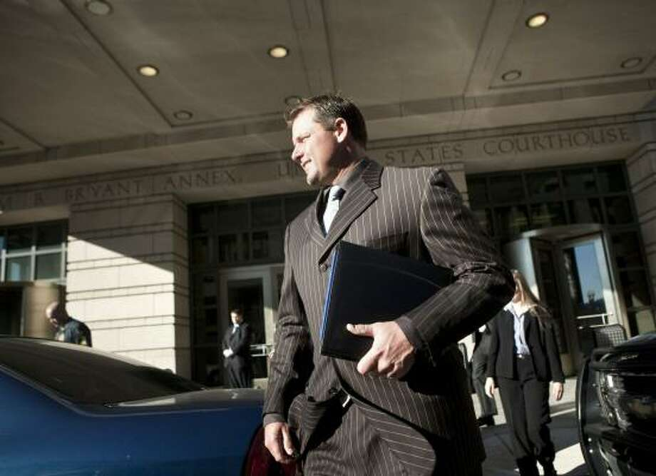 Roger Clemens leaves federal court in Washington, D.C., today. Photo: Brendan Smialowski, Getty Images