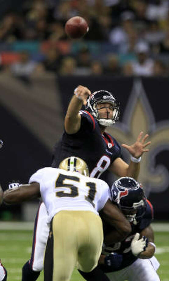 Texans quarterback Matt Schaub will have a rare chance to show his abilities in prime time against the Cowboys. Photo: Brett Coomer, Chronicle